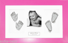 New Baby Girl Gift Hand Foot Casts 3D Casting Kit Pink Photo Display Box Frame