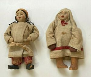 Two Cloth Dolls with Wooden Feet Chinese ? Mongolian ? Eskimo ? Inuit ?