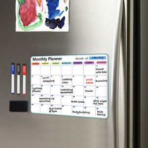 Monthly Planner Fridge Calendar Magnetic Whiteboard with 3 markers  & an Eraser