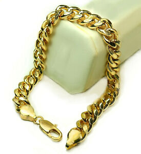 Real 18k Gold Layered 12mm Wide BIG Mens Cuban Curb Link Chain 9 inch Bracelet