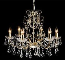 Kronleuchter Lüster Kristall Leuchter Deckenlampe Hängeleuchte Gold Weiß LV