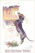 Dachshund Dog Delivers Card K. Ferterag  - LARGE New Blank Christmas Note Cards