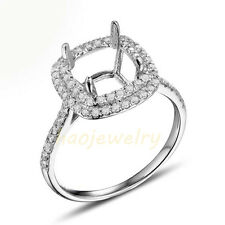7.5x7.5mm Square Cushion 14K White Gold Natural Diamond Semi Mount Ring Setting