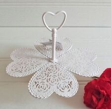 SHABBY CHIC LOVE HEARTS CREAM CUPCAKE STAND - FRETWORK STYLE - METAL