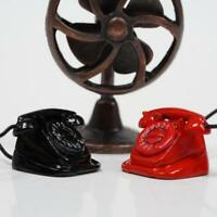 Retro Telephone Dollhouse Miniature DIY Doll House Decor 1:12 Scale Red/Black