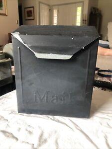 VINTAGE WALL MOUNT STEEL MAILBOX 8.5 X 10.25 BLACK
