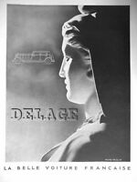AD PRINT Original 1932 DELAGE the beautiful French car