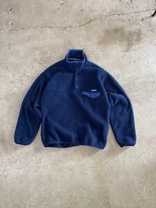 VTG Patagonia Synchilla T Snap Fleece Pullover Jacket Navy Blue