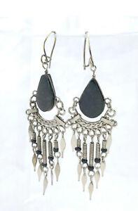 Handcrafted Teardrop Unpolished Black Onyx & Silver Dangle Chandelier Earrings