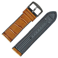Breathable 20mm Brown crocodile Grain Leather and Black Rubber Watch Band Strap