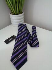 BNWT Hugo Boss Navy Purple Diagonal Stripe 100% Silk Tie - 7.5cm
