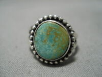 IMPORTANT JEANETTE DALE NAVAJO ROYSTON TURQUOISE STERLING SILVER RING