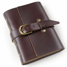 Ancicraft Leather Diary Journal with Strap Buckle A6 Blank Paper Unique Gift