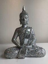 27.5cm Sparkly Silver Glitter Sitting Praying Buddha Ornament Home Decor Gift
