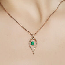 Charm Water Drop Green Emerald Stones Crystal  Necklace Pendant Women Jewelry