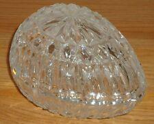 "GLASS EGG w/lid dish bowl  trinket box Easter 6""L Starburst on top and bottom"