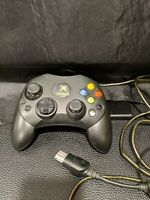 Original OEM Microsoft Xbox Controller S Black Wired w/ Breakaway Dongle TESTED