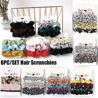 6PC/SET Women Hair Scrunchies Velvet Hair Ties Scrunchy Bands Ties Elastic Ropes