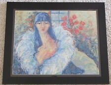 MAGGI PERRY VINTAGE GORGEOUS FEMALE FIGURE PORTRAIT MODERNISM DRAWING PAINTING