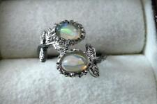 CABOCHON OPAL 925 STERLING SILVER WHITE GOLD RHODIUM CROSSOVER RING SZ N 7
