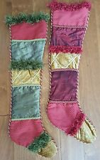 """Set of 2 NEW Large Christmas Stockings 29"""" long Maroon Green Gold"""