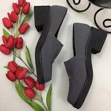 Martinez Valero NWOB Gray Black Square Toe Block Heel Loafers Size 8.5