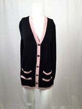 Chanel Black & Pink Cashmere Blend Cardigan Sweater Camellia Buttons