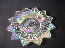 "Carnival? Glass Rainbow Color Coin Plate Dish Star Design 6"" x 6"""