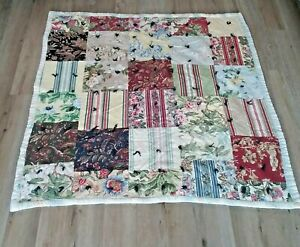 Vintage Patchwork Quilt Handmade Multicolor Shabby Chic Blanket  55 x 60  Heavy