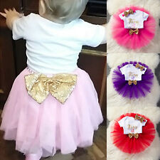 Baby Girl 1st First Birthday Dress Bowknot Tutu Skirt Headband Cake Outfits Kids