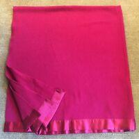Vintage 100% Wool Blanket Burgundy With Satin Trim 76 x 82