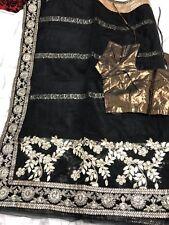 LATEST INDIAN ASIAN BRIDAL SAREE/SARI WITH SHORT SLEEVE BLOUSE