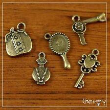 Bronze Beauty charms set of 5 ~ hairdryer heart key mirror perfume purse bead