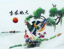 """100% Silk Hand Embroidery Chinese Art Colorful Exotic Birds Scene 13"""" x 17"""" New"""