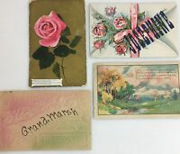 Antique Greeting Cards Postcards, Lot of 4 Free Ship