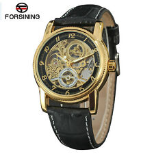 Forsining Mechanical Watch for Men Skeleton Dial with Leather Strap