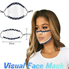 Visible Mouth Cover Face Shield Transparent W/clear Window for Deaf People Adult