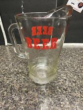 Vintage Heavy Glass Beer Pitcher .