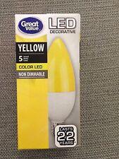 YELLOW Color LED Candelabra NON DIMMABLE 5 Watt E12 Light Bulb