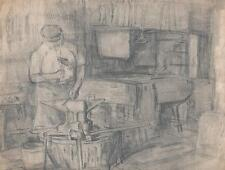 JULIUS ROSENBAUM Pencil Drawing BLACKSMITH FORGE c1910 GERMAN EXPRESSIONISM