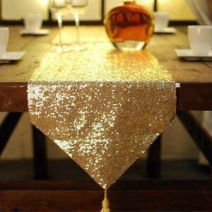 Sequin Beaded Table Runner Cloth Tablecloth Sparkled Glitter Wedding Home Decor