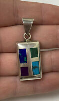 Vintage Sterling Silver Pendant W/ Turquoise Malachite Other Inlay - Chunky