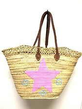 Straw & Sequin Pink Star Shopping French Market Basket Bag Moroccan Tote