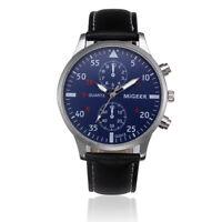 Luxury Mens Retro Design Business Leather Band Analog Alloy Quartz Wrist Watches