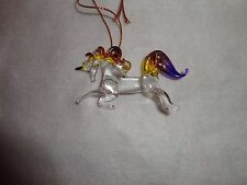 Hanging Unicorn Purple and Yellow Clear Figurine of Blown Glass Crystal