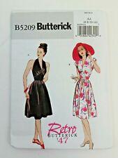 Retro Butterick '47 B5209 Misses Dress Halter  Cap Sleeve AA 6 8 10 12 New Uncut