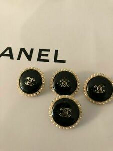 Chanel black with pearls metal buttons set of 5. 23 mm