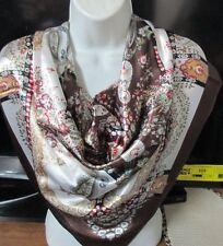 Satin Silk Multi-Color Shawl Wrap Scarves or Muffler size: 90x90cm