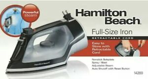Hamilton Beach Full Size Iron Adjustable Steam Retract Cord Auto Shutoff NEW!