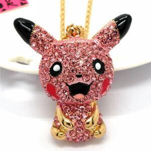 Rhinestone Pink Crystal Pokemon Pikachu Pendant Betsey Johnson Chain Necklace